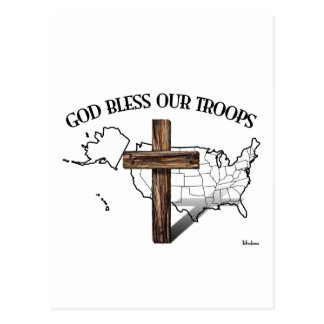 God Bless Our Troops with rugged cross & US outine Postcards