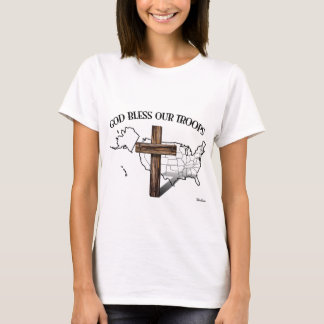 God Bless Our Troops with rugged cross & US outine T-Shirt