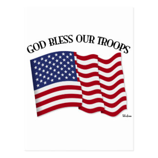 God Bless Our Troops with US flag Post Card