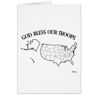God Bless Our Troops with US outline Card