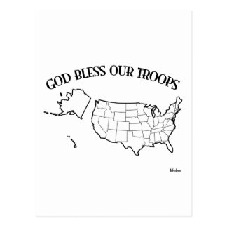 God Bless Our Troops with US outline Postcard