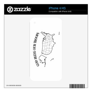 God Bless Our Troops with US outline Skin For iPhone 4