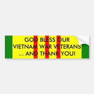 GOD BLESS OUR VIETNAM WAR VETERANS... CAR BUMPER STICKER