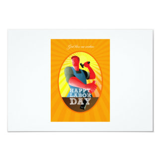 God bless our workers Happy Labor Day Retro Poster 9 Cm X 13 Cm Invitation Card