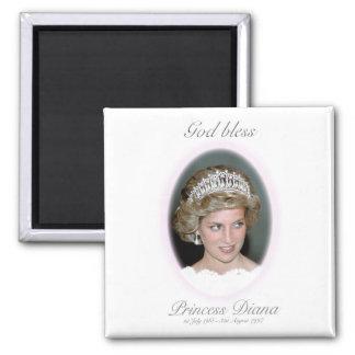 God Bless Princess Diana 2 Inch Square Magnet