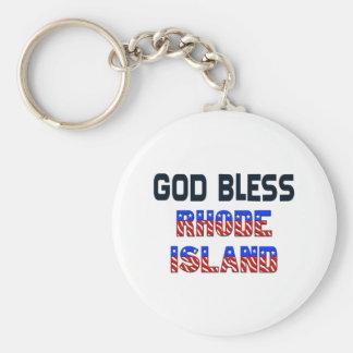 God Bless Rhode Island Basic Round Button Keychain