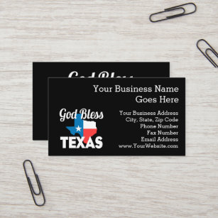 God Bless Texas Business Card