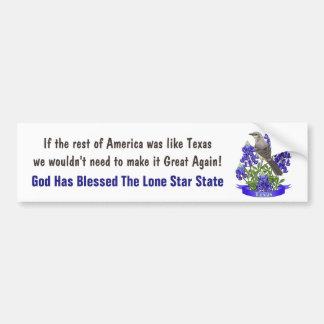 God Bless Texas Mockingbird & Bluebonnet Bumper Sticker