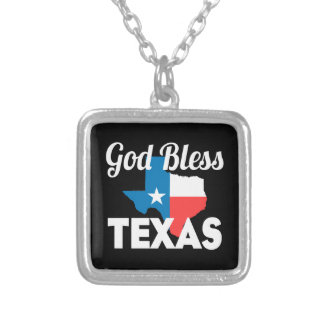God Bless Texas Silver Plated Necklace