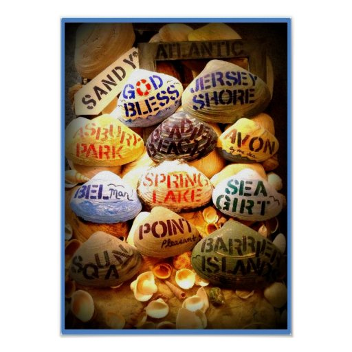 God Bless the Jersey Shore (Light Blue Border) Poster