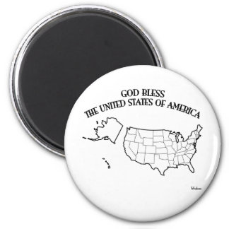 GOD BLESS THE UNITED STATES OF AMERICA US outline Magnet