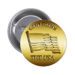 GOD BLESS THE USA 2 INCH ROUND BUTTON