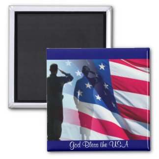 God Bless the USA American Flag 2 Inch Square Magnet
