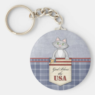 God Bless the USA Cat Card Basic Round Button Keychain