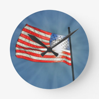 God Bless the USA Round Wallclock