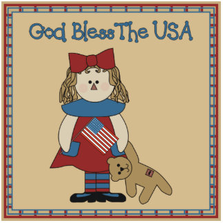 God Bless The USA-Country Prim Photo Sculpture
