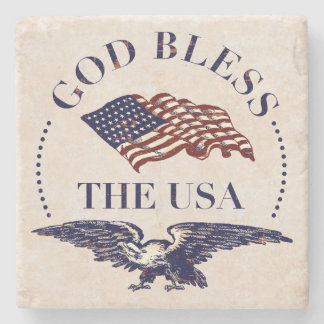 God Bless The USA - Flag and Eagle Vintage Stone Coaster