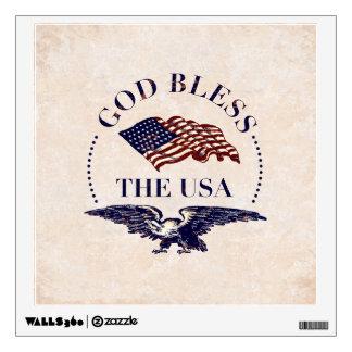 God Bless The USA - Flag and Eagle Vintage Wall Decal