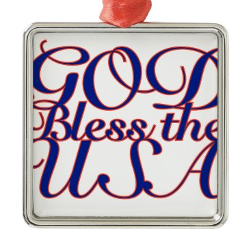 USA Themed God Bless the USA Metal Ornament
