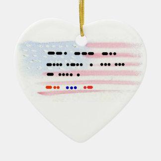 God Bless The USA Morse Code Xmas Ornament