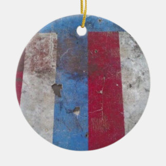 God bless the USA Double-Sided Ceramic Round Christmas Ornament