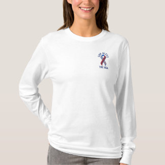 God Bless the USA Patriotic American Embroidered Long Sleeve T-Shirt
