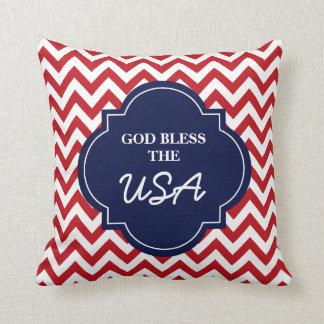 God Bless The USA, Red White Blue Chevron Stripes Throw Pillows