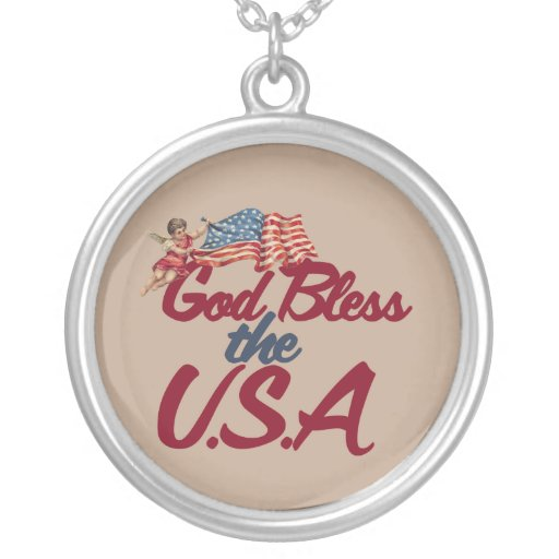 God bless the USA Round Pendant Necklace