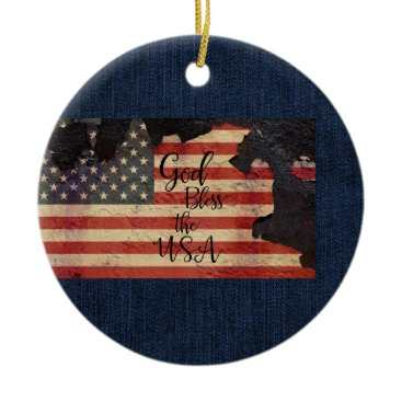 God Bless the USA song Ceramic Ornament