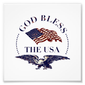 God Bless the USA - Vintage Eagle and Flag Photo Print