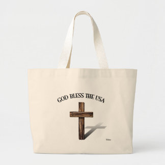 GOD BLESS THE USA with rugged cross Canvas Bags