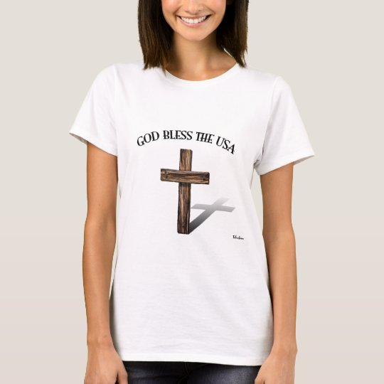 GOD BLESS THE USA with rugged cross T-Shirt