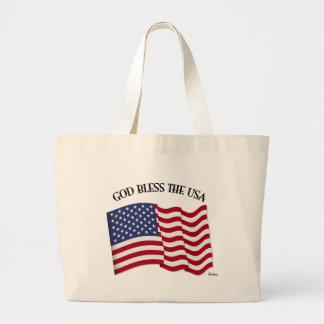 GOD BLESS THE USA with US flag Tote Bags