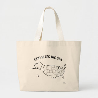 GOD BLESS THE USA with US outline Tote Bag