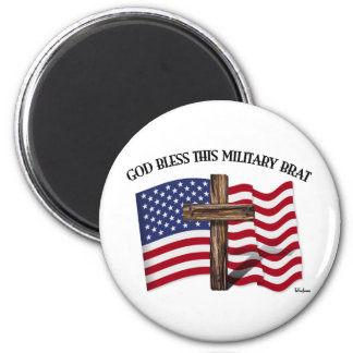 GOD BLESS THIS MILITARY BRAT rugged cross, US flag 2 Inch Round Magnet