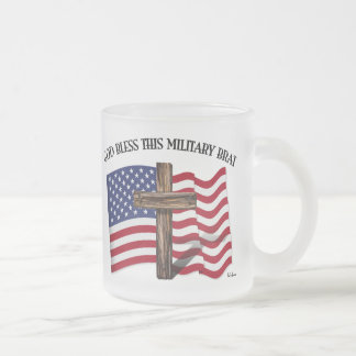 GOD BLESS THIS MILITARY BRAT rugged cross, US flag Frosted Glass Coffee Mug
