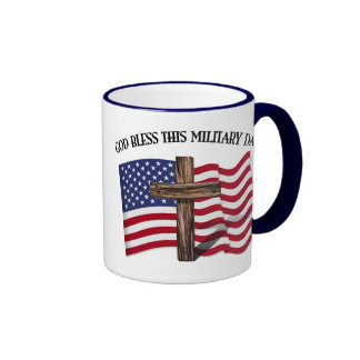 GOD BLESS THIS MILITARY DAD rugged cross & US flag Ringer Coffee Mug