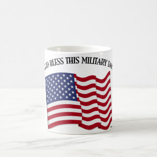 GOD BLESS THIS MILITARY DAD with US flag Classic White Coffee Mug