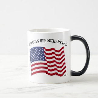 GOD BLESS THIS MILITARY DAD with US flag 11 Oz Magic Heat Color-Changing Coffee Mug