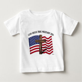 GOD BLESS THIS MILITARY KID rugged cross & US flag Baby T-Shirt
