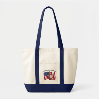 GOD BLESS THIS MILITARY KID rugged cross & US flag Tote Bag