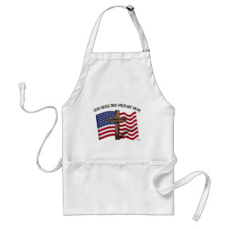 GOD BLESS THIS MILITARY MOM rugged cross & US flag Adult Apron