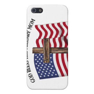 GOD BLESS THIS MILITARY MOM rugged cross & US flag iPhone 5 Cover