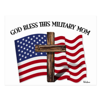 GOD BLESS THIS MILITARY MOM rugged cross & US flag Postcard