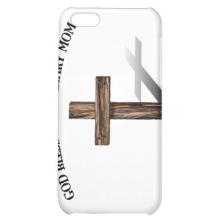 GOD BLESS THIS MILITARY MOM with rugged cross iPhone 5C Cases