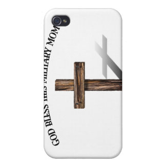 GOD BLESS THIS MILITARY MOM with rugged cross iPhone 4/4S Cases
