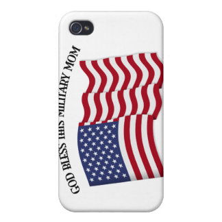 GOD BLESS THIS MILITARY MOM with US flag iPhone 4 Case