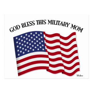 GOD BLESS THIS MILITARY MOM with US flag Postcard
