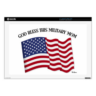 GOD BLESS THIS MILITARY MOM with US flag Laptop Decal
