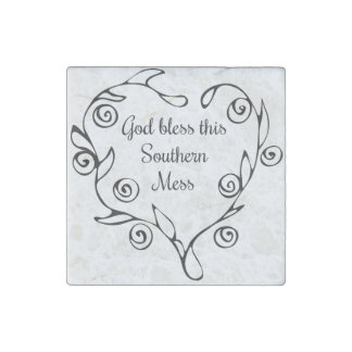 God Bless this Southern Mess Marble Magnet